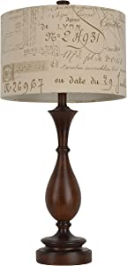 """Décor Therapy TL7927 29.25"""" Script Table Lamp, Wood Tone Finish"""