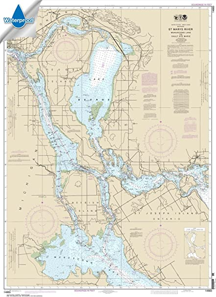 MapHouse NOAA Chart 14962 St Marys River to Au Sable Point;Whitefish Point;Little Lake Harbors;Grand Marais Harbor 34.92 X 46.57 Paper Chart