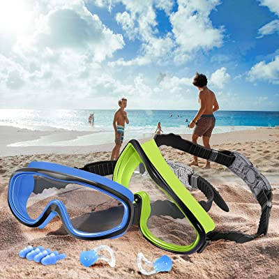 Wide Vision Swim Glasses with Ear Plugs and Nose Clips for Children Early Teens UV Protection Waterproof 2 Pack Anti-Fog Leak Proof Kids Swimming Goggles Vetoo Kids Swim Goggles Age 4-15