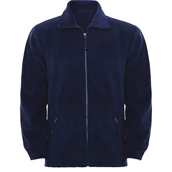 Forro polar azul marino para niños. Chaqueta polar básica con cremallera y bolsillos. (
