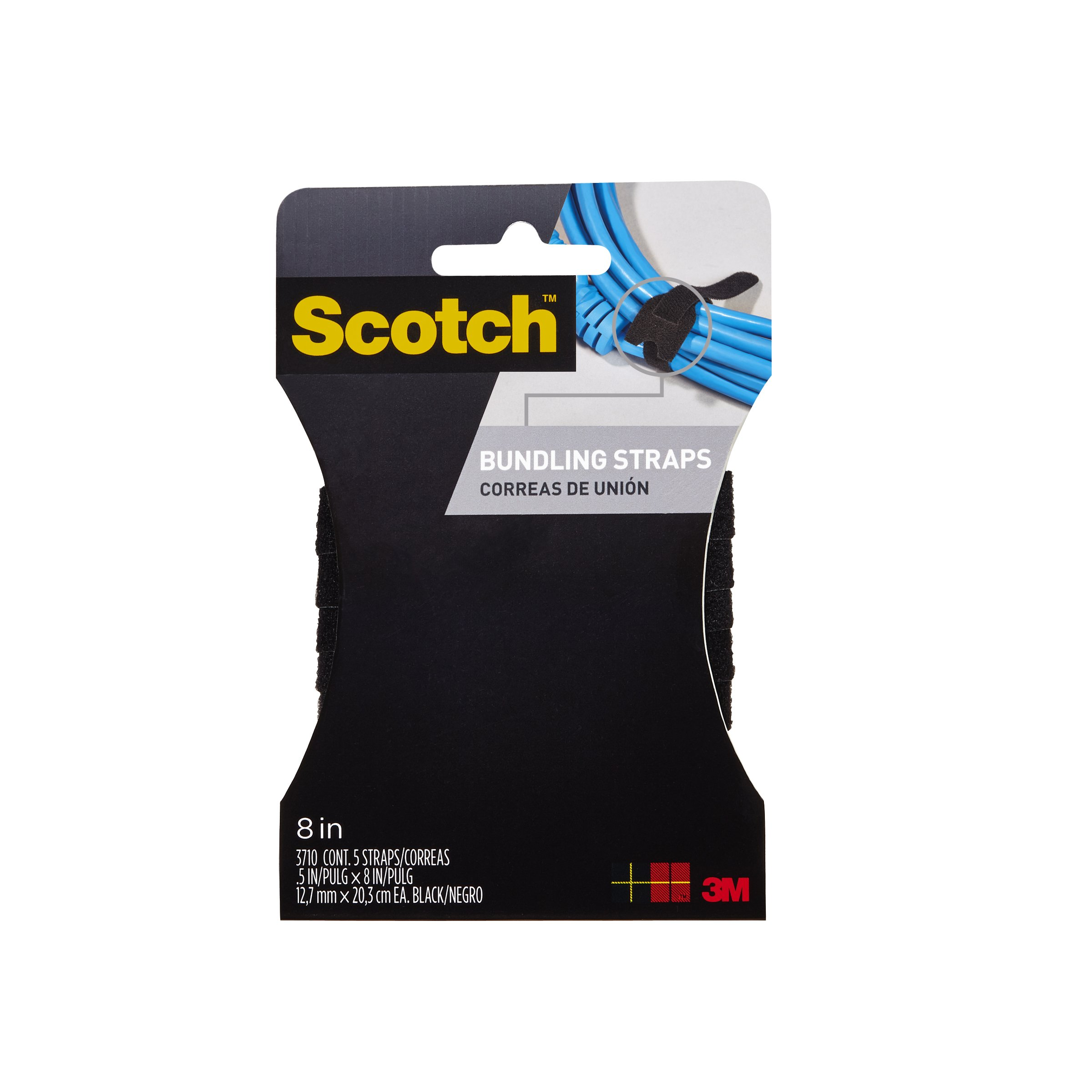 Scotch RF8010CH-C Cord Organizer Straps, Black, 8In, Pack Of 6, Black