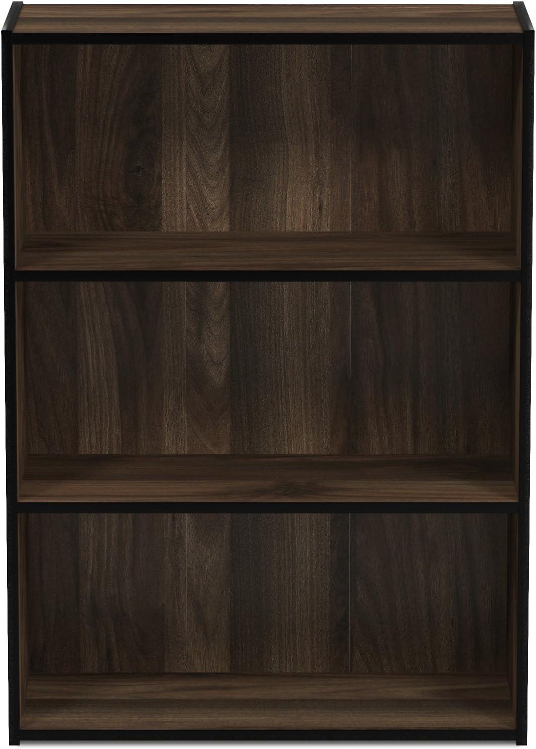 Furinno Pasir 3-Tier Open Shelf Bookcase, Columbia Walnut