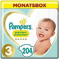 Pampers Premium Protection Windeln, Gr.3, 6-10kg, Monatsbox, 1er Pack (1 x 204 Stück)