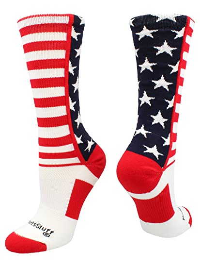 9b4a9c1114d MadSportsStuff USA American Flag Stars and Stripes Crew Socks (Navy/Red /White,