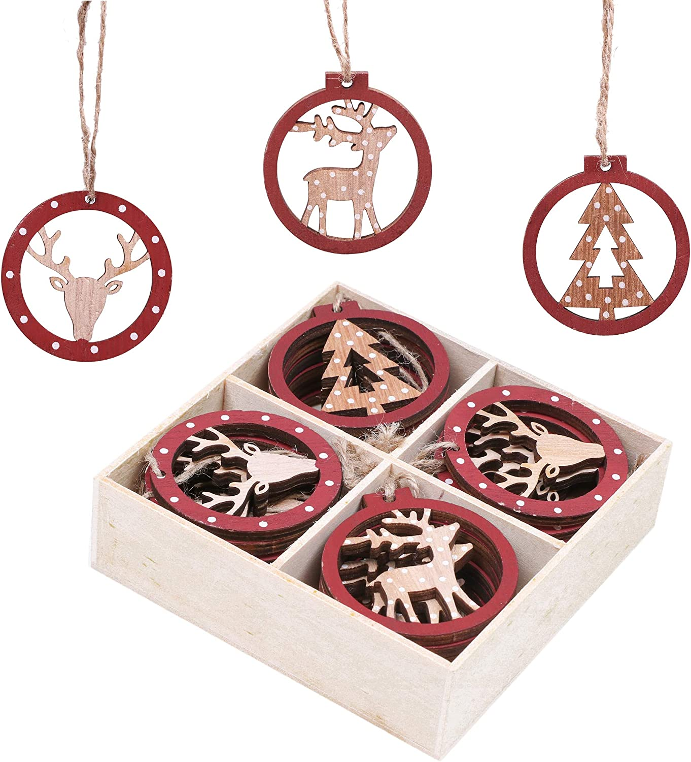 Woodland 24pcs 2.3Inch//5.8cm Red and Beige Xmas Tree Ornament,Hanging Fox Shaped Pendants Valery Madelyn Wooden Christmas Tree Decoration Set