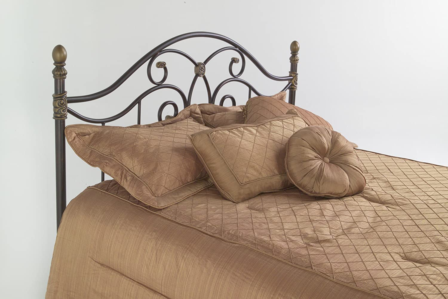 Dynasty Headboard with Arched Metal Grill and Scalloped Finial Posts - Autumn Brown Finish - Full