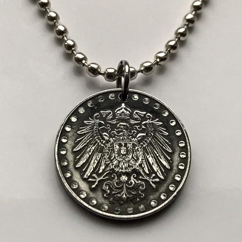 1916 Germany 10 Pfennig coin pendant German eagle Berlin Munich Bundesadler Dresden Bonn Hanover Leipzig Dortmund Bremen n001351