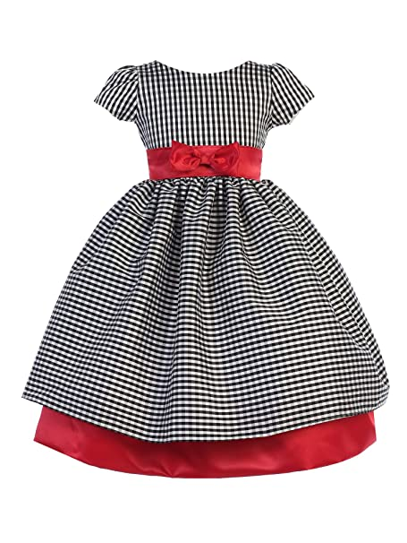 60618e98c7bd Amazon.com  Ellie Kids Little Girls Black Red Checker Taffeta Bow ...