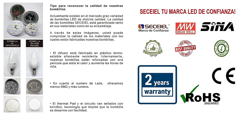SECEIEL ® Bombilla LED E14, 5 W equivalente a 35 W, 410 lúmenes chips SMD 3200K Blanco Neutral: Amazon.es: Electrónica