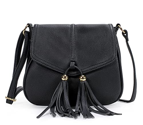 8e240d4f8f1e6 Scarleton Chic Tassel Falp Crossbody Bag H186901 - Black