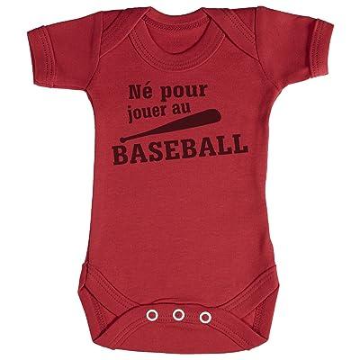 TRS - Né pour jouer au Baseball Body bébé 100% Coton