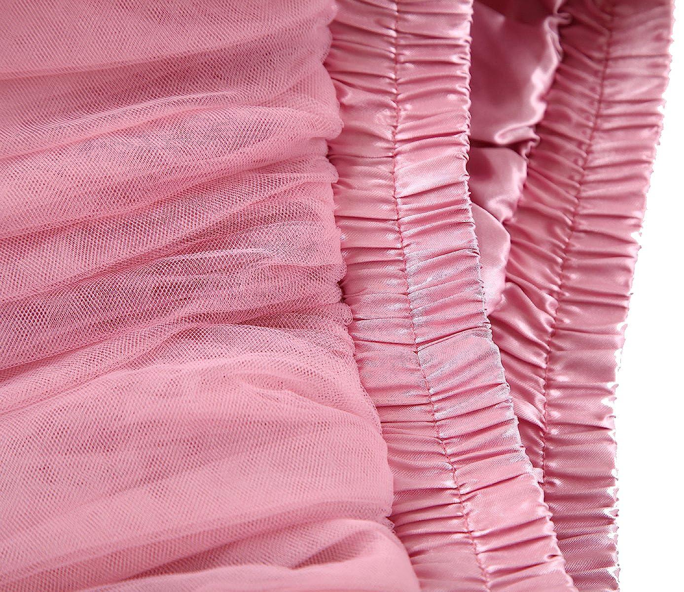 Allenqueen Pleated Above Knee Skirt Parent-Child Petticoat High Waist Tutu Tulle Skirt