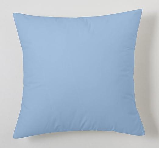 ESTELA - Funda de cojín Combi Lisos Color Azul Celeste - Medidas 40x40 cm. - 50% Algodón-50% Poliéster - 144 Hilos