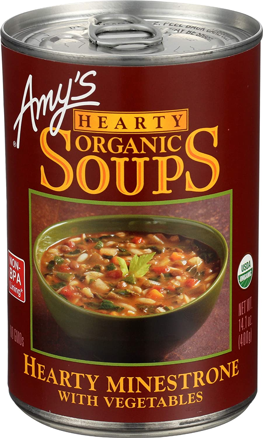 Amy's Soup, Vegan, Organic Hearty Minestrone (Pasta, Beans and Veggies) 14.1 oz