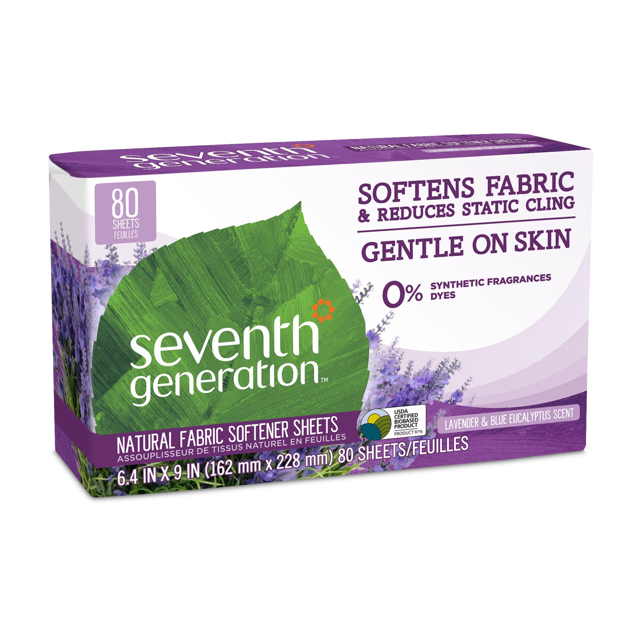 Seventh Generation Fabric Softener Sheets, Blue Eucalyptus & Lavender, 80 ct