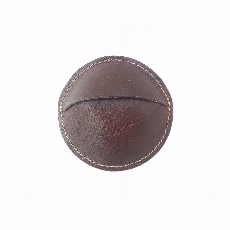 Monedero redondo artesanal de cuero vaquetilla-Marrón ...