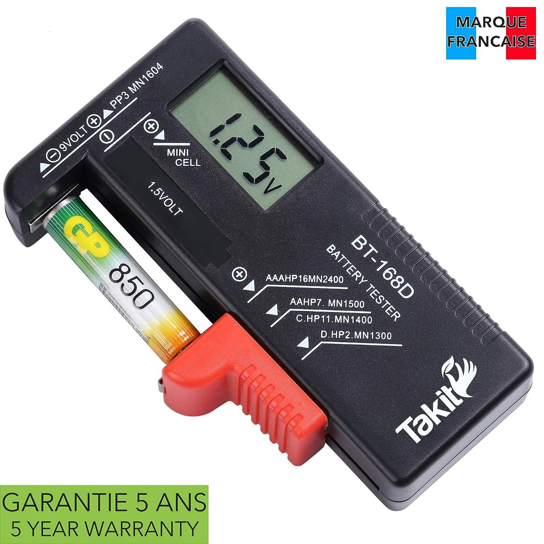 TAKIT Batterietester Digital Fü r AA, AAA, C, D, PP3, 9V, 1,5V, Knopfzellenbatterien - 5 Jahre Garantie