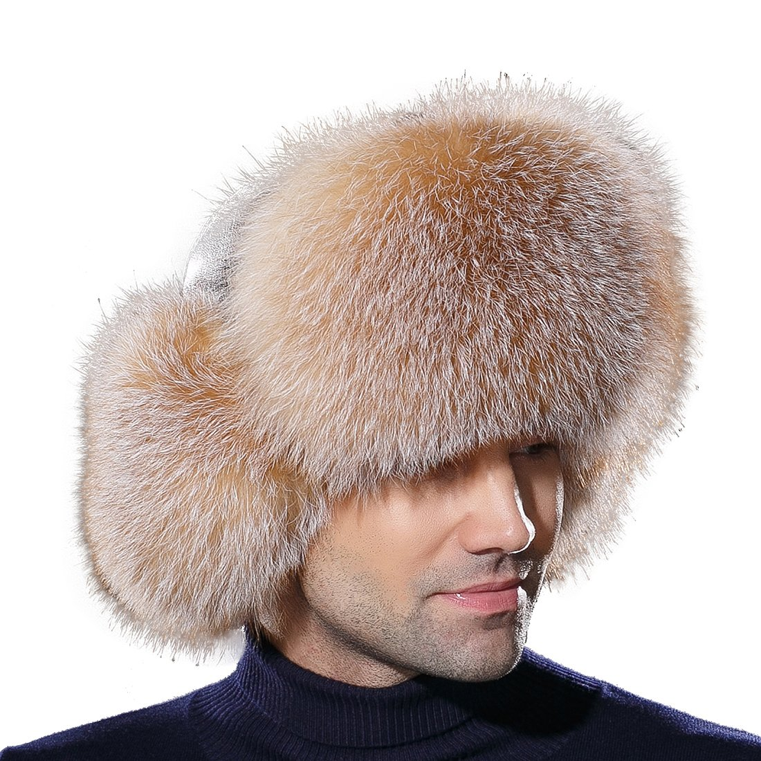 URSFUR Winter Mens Trapper Hat Real Leather and Fox Fur Russian Ushanka Cap