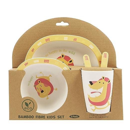 ORNAMI Set Vajilla de bambú para niños, 5 Piezas, diseño de León ...