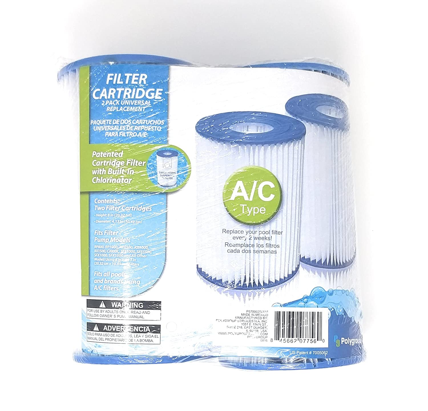 Universal Replacement Filter Cartridges Type A or C Pack of 2
