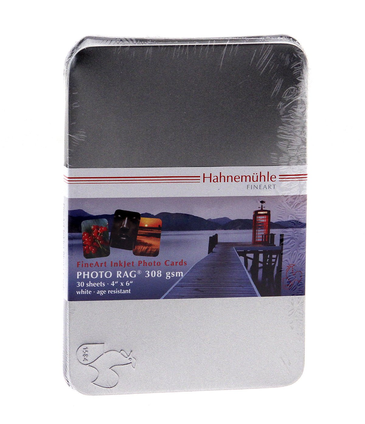 "Hahnemuhle FineArt Photo Rag 308, Bright White Matte Inkjet Photo Cards, 308gsm, 18.9mil, 4x6"", 30 Sheets in a Tin Box."