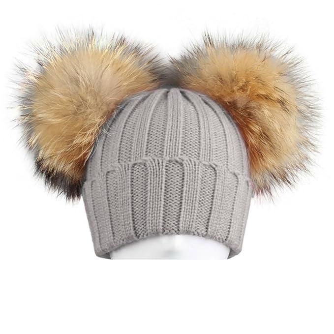 BrillaBenny Cappello Cuffia Grigio Doppio PON PON in Pelliccia MURMASKY 1-3  Anni Bimba Cappellino Lana Hat Grey Fur Raccoon Baby Kids Double Pom Poms  ... a9f6e3b60919