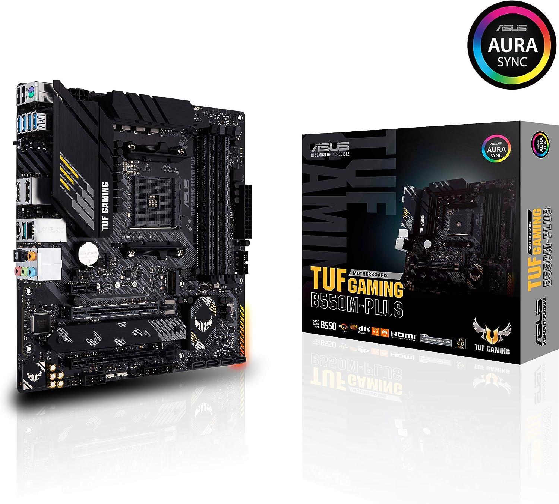 ASUS TUF GAMING B550M-PLUS - Placa Base Gaming mATX AMD AM4 con VRM de 10 fases, PCIe 4.0, dual M.2, Intel 2,5Gb LAN, HDMI/DP, USB 3.2 Gen 2, Realtek S1200A, BIOS flashback e iluminación RGB Aura Sync