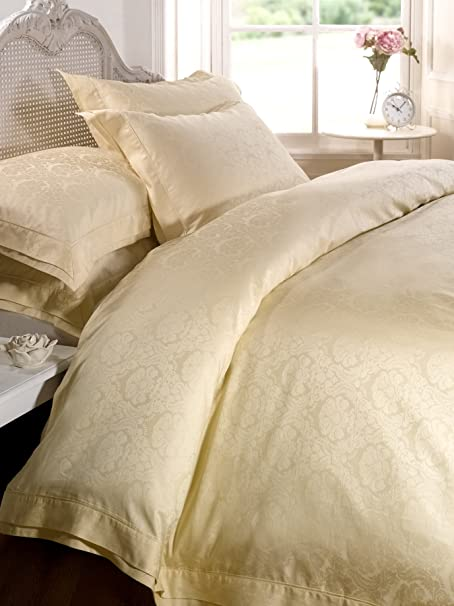 Damask Duvet Cover Set King Size Cream Bedding 300 Tc 100 Cotton