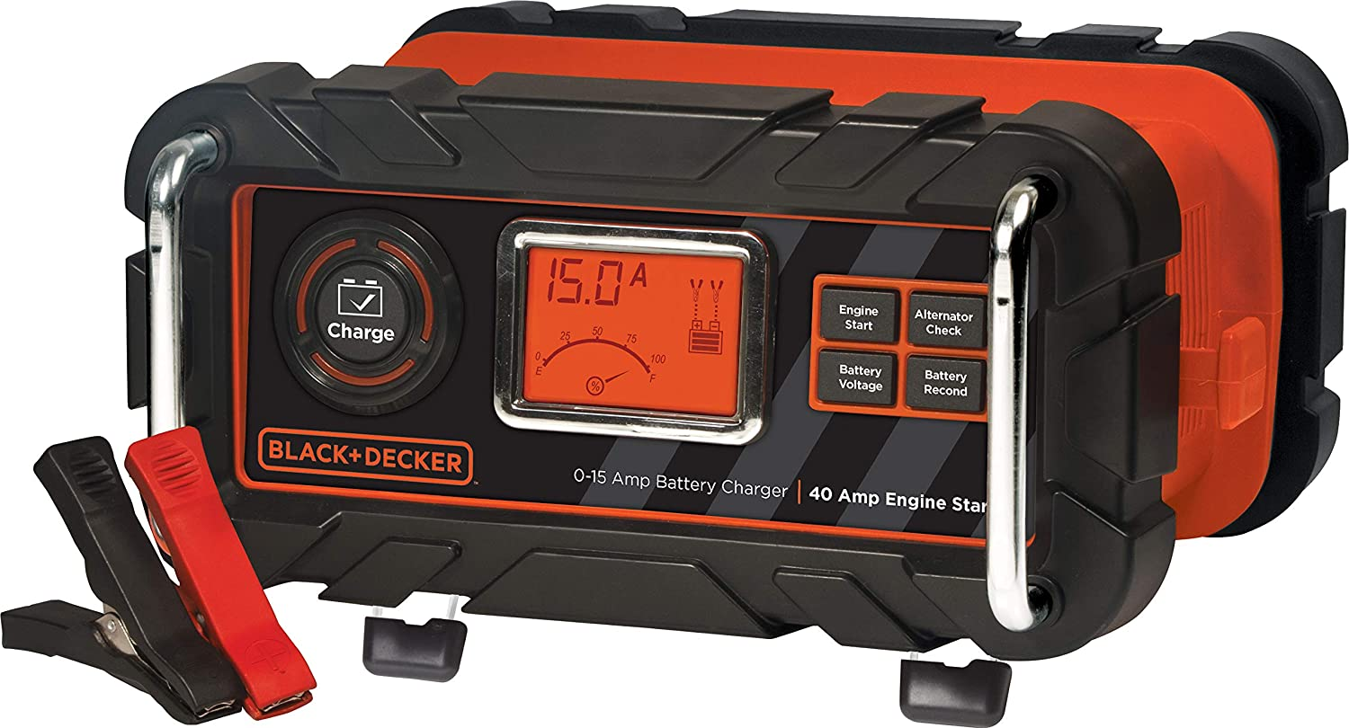 BLACK+DECKER BC15BD Fully Automatic 15 Amp 12V Bench Battery Charger//Maintainer with 40A Engine Start Alternator Check Cable Clamps Black /& Decker