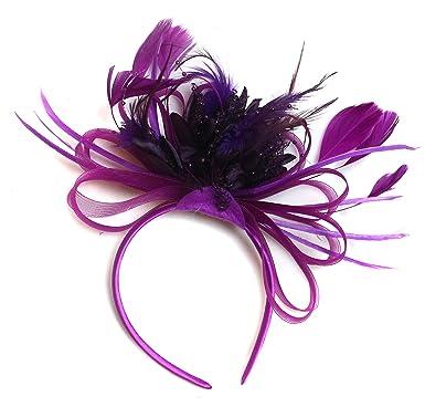 Plum Magenta and Purple Feather Hair Fascinator Headband Wedding ... d831fc37057