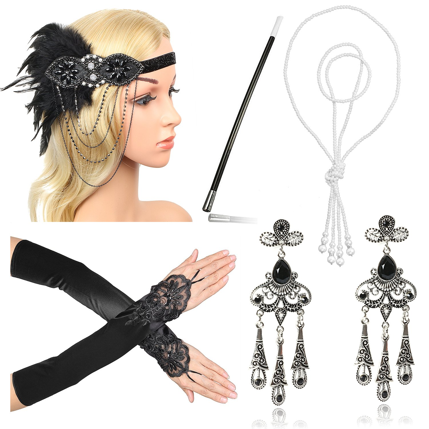 Beelittle 1920s Accessories Headband Earrings Necklace Gloves Cigarette Holder (G2)