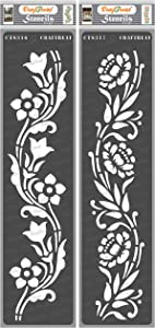 CrafTreat Floral Border Stencils for Painting on Wood, Canvas, Paper, Fabric, Floor, Wall and Tile - Border12 and Border13-2 Pcs - 3x12 Inches Each - Reusable DIY Art and Craft Stencils for Borders