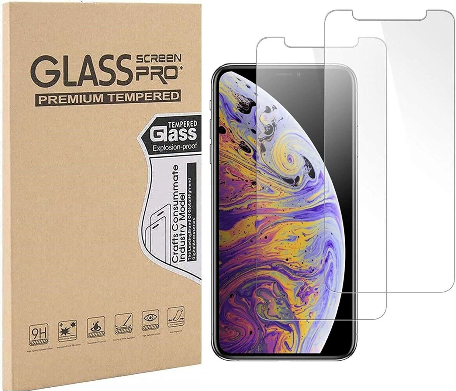 """Pokanic Compatible with Apple iPhone XR / 11 Screen Protector 6.1"""" HD Tempered Glass Screen Proof 9H Films Anti-Scratch Protective Anti-Fingerprint Easy Installation (2 Pack)"""