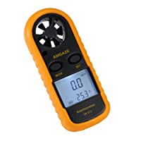 Digital Anemometer LCD Wind Speed Gauge Handheld Air Flow Velocity Measurement Thermometer Device for RC Drones Helicopter Windsurfing Kite Flying Sailing Surfing Fishing (Battery Included)