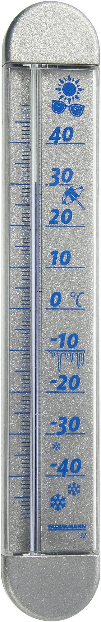 63730 19x4x4 cm blau Fackelmann Fensterthermometer 19x4 cm aus Kunststoff//PS