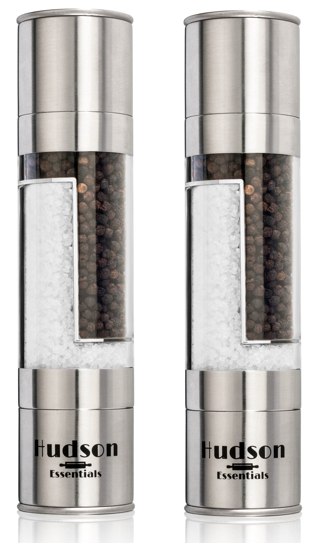 Hudson Deluxe 2 in 1 Salt and Pepper Grinder Set - Ceramic Blade & Stainless Steel - Set of 2 Manual Mills