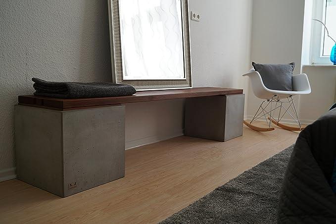 Amazon.de: CARVIDO Indoor Design Sitzbank aus Beton und Bangkirai ...
