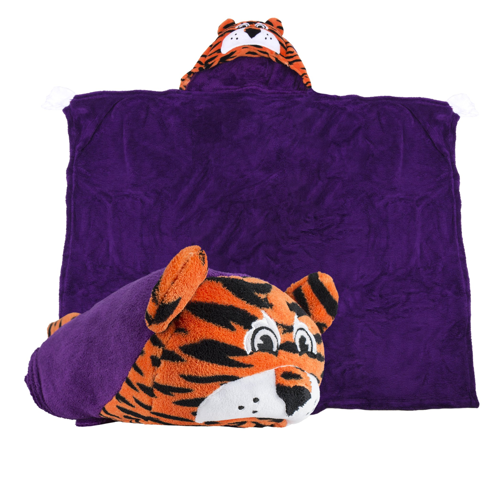 Comfy Critters Stuffed Animal Blanket – College Mascot, Clemson University 'Tiger' – Kids huggable pillow and blanket perfect for the big game, tailgating, pretend play, travel, and much more.