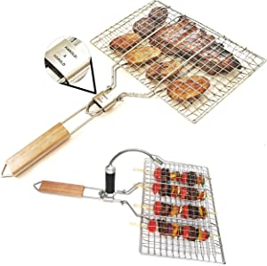 Harold & Harold Scorpion Grill Basket. Best Fish Grill Basket with Folding Hardwood Handle and Exclusive Magnetic Light for Easy BBQ. Great for Campfire Grilling, Ice Fishing BBQ, Kabobs and Other.