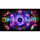 "Psychedelic Trippy Art Fabric Cloth Rolled Wall Poster Print -- Size: (24"" x 13"")"