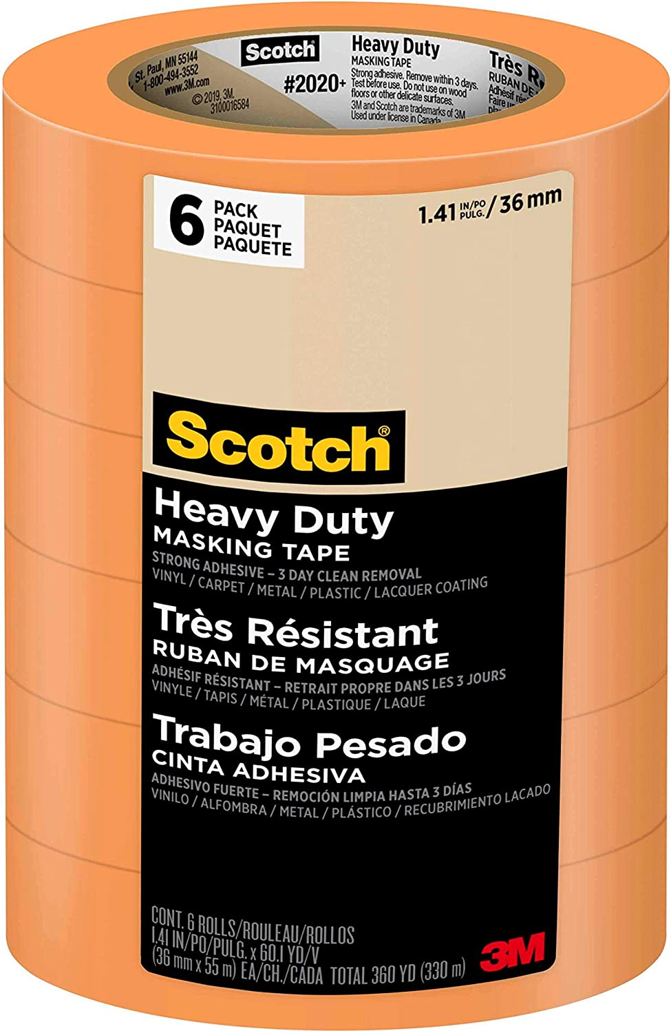 Scotch Heavy Duty Masking Tape, 1.88 inch by 60.1 yard, 6 Rolls