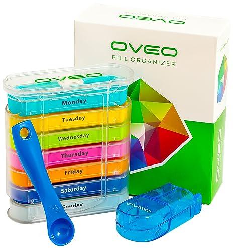 OVEO Dosificador de Comprimidos Semanal - Pastillero Semanal Caja de Medicina Organizador de Pastillas con 28