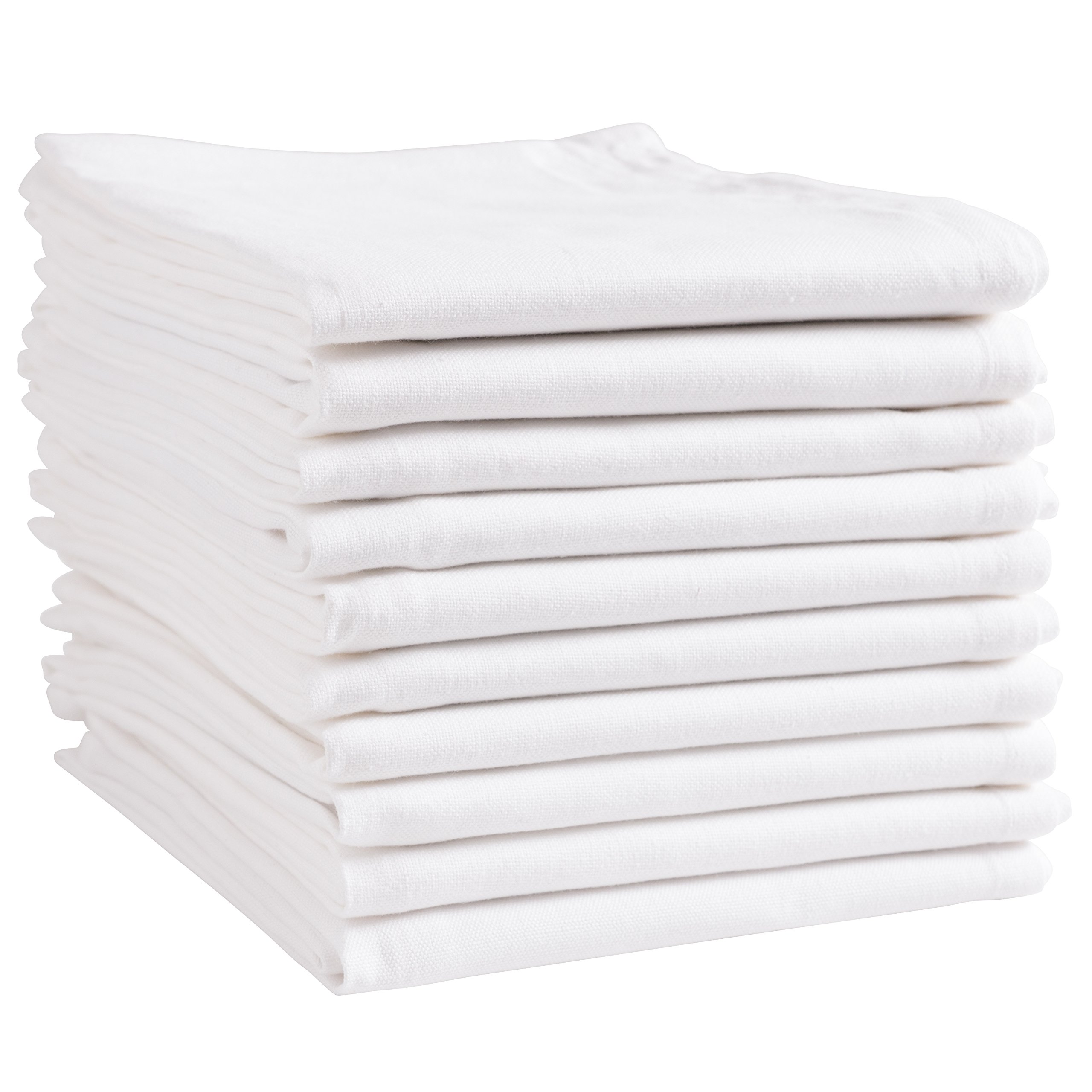 KAF Home White Kitchen Towels, 10 Pack, 100% Cotton - 20 x 30, Soft and Functional Multi-Purpose, Baking, Cooking, Cleaning, Printing, Monogramming, and Embroidery (Plain Weave) by KAF Home