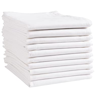 KAF Home White Kitchen Towels, 10 Pack, 100% Cotton - 20 x 30, Soft and Functional Multi-Purpose, Baking, Cooking, Cleaning, Printing, Monogramming, and Embroidery (Plain Weave)
