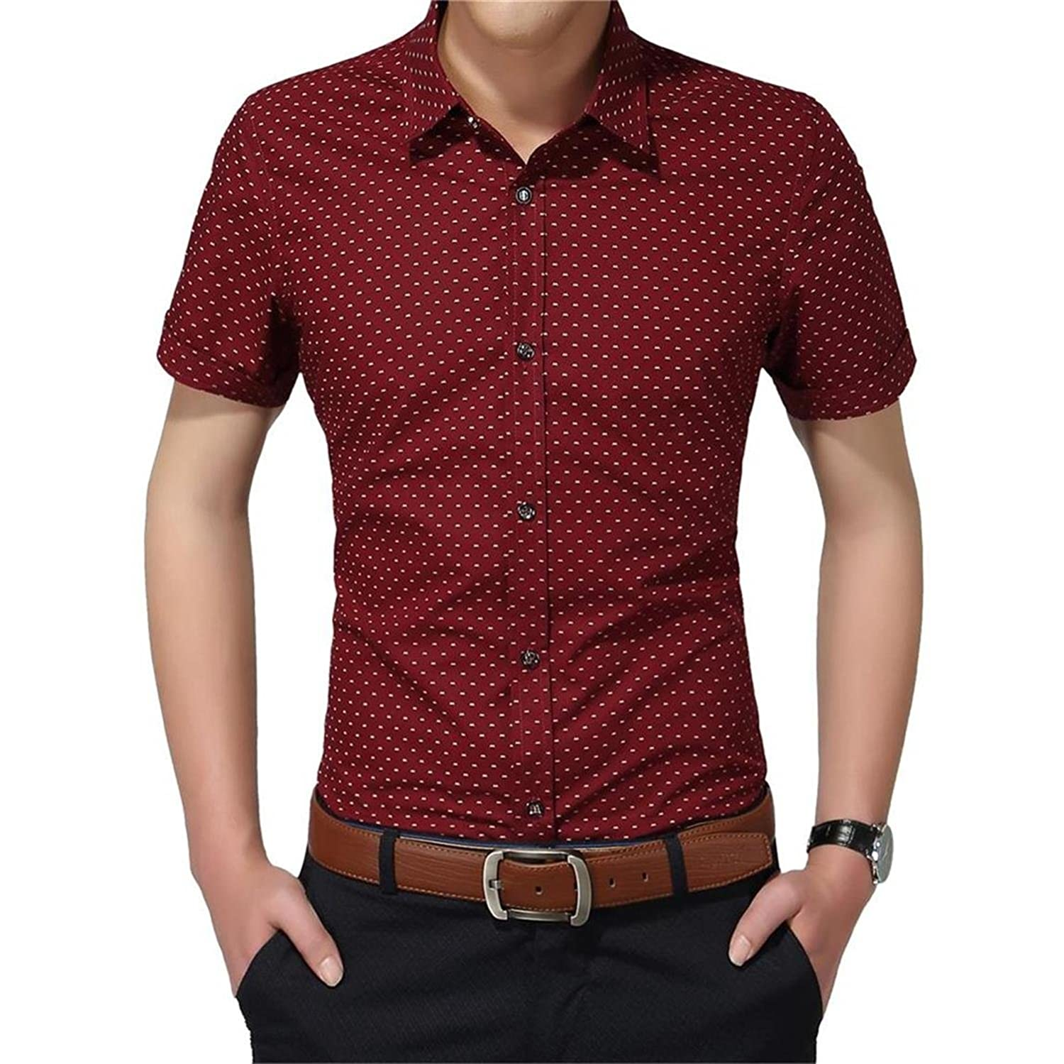 YTD Mens 100/% Cotton Casual Slim Fit Long Sleeve Button Down Printed Dress Shirts