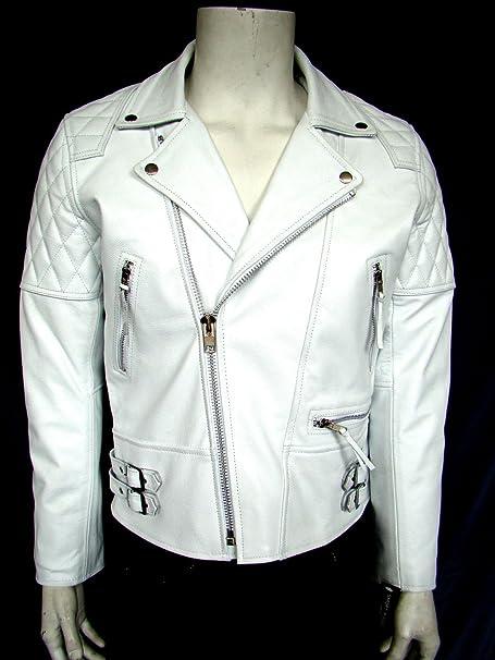 233 speed hombre chaqueta de moto de cuero de brando moto blanco vaca real hide: Amazon.es: Ropa y accesorios