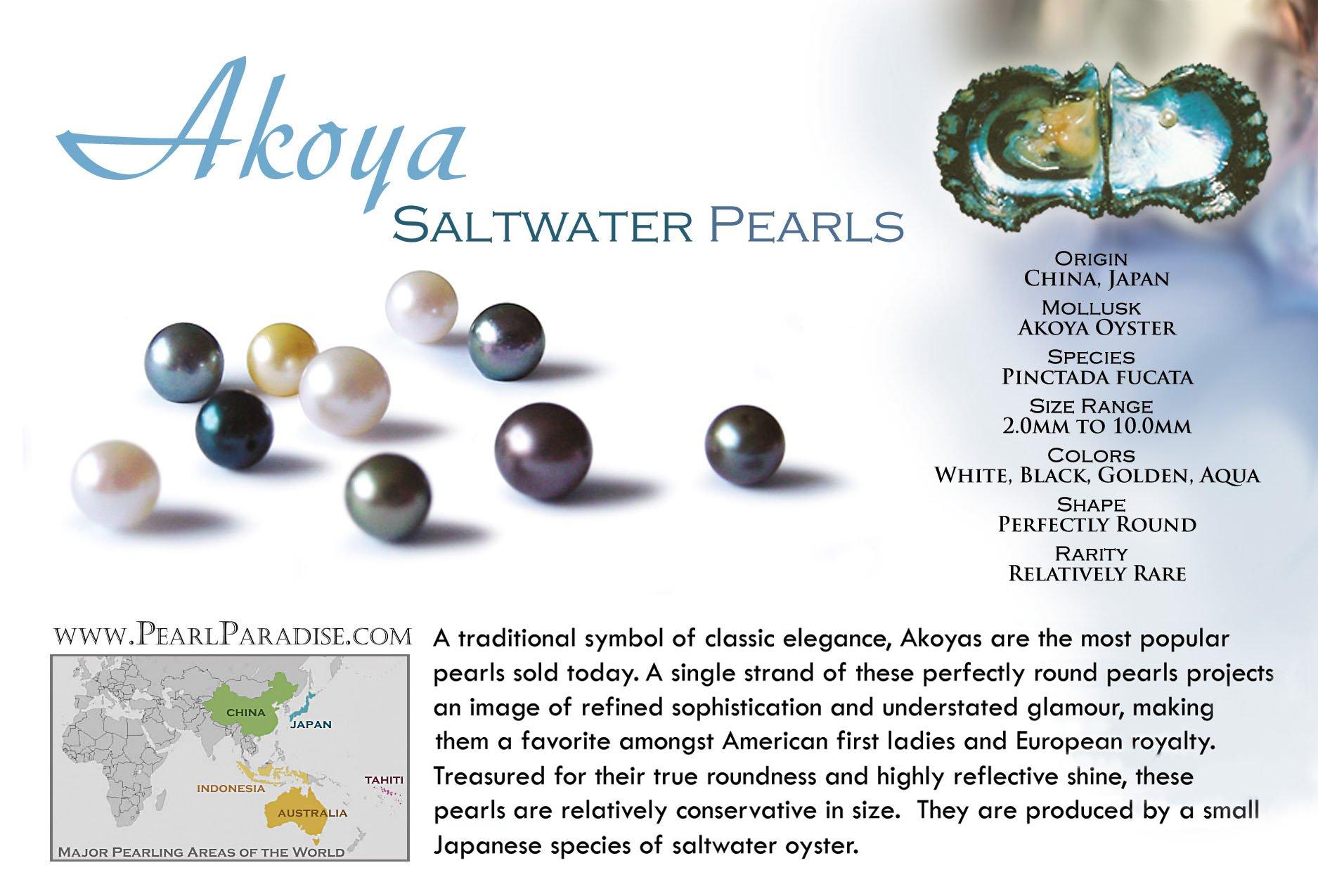 14k Akoya Cultured Pearl Earrings Top Gem Quality 7.0-7.5 mm White (White Gold)
