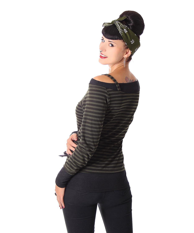 SugarShock Lilja retro Streifen Pin Up Carmen Longsleeve langarm Shirt