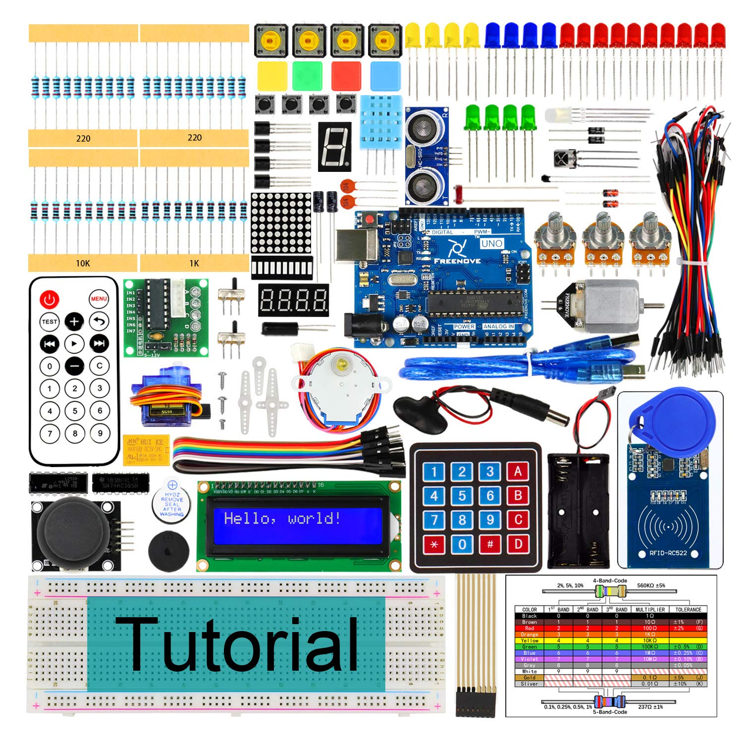 Freenove RFID Starter Kit V2 0 with UNO R3 (Compatible with Arduino), 252  Pages Detailed Tutorial, 198 Items, 49 Projects, Solderless Breadboard