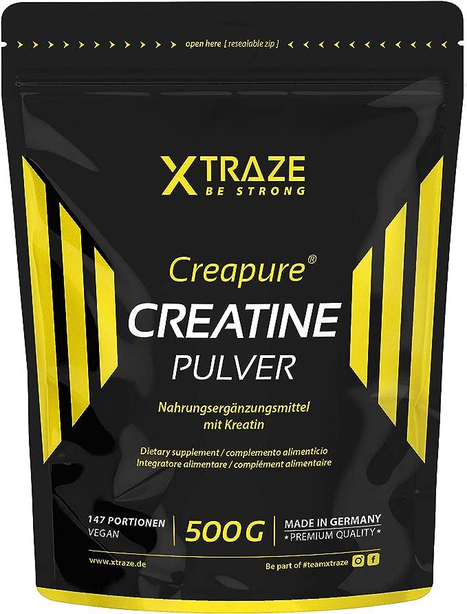 Creatina Monohidrato (Creapure®) Polvo 500 g, Creatina Monohidratada Polvo vegano sin sabor, 100% puro, Pre Workout Suplemento sin aditivos para ...